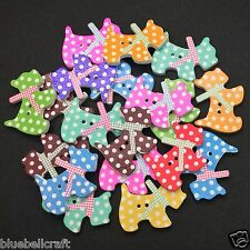 40 WOOD PUPPY DOG BUTTONS - MIXED POLKA DOT - CRAFT - SCRAPBOOK - SEWING - CARDS