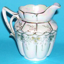 S C H Handmalerei China Milk Jug - Pearlescent base with gold gilding on relief.