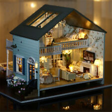 AU! DIY Wooden Doll House Vintage Cottage Kit Wood Dollhouse Girls Queen's Town
