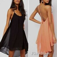 Sexy Women Spaghetti Strap Backless Chiffon Low-Cut Cocktail Mini Clubwear Dress