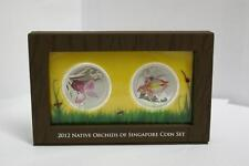 Singapore 2012 2x 5$ Native Orchids of Singapore 2x 1oz Proof Silver Coin Set
