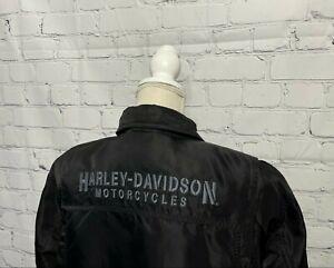 VTG Harley Davidson Motorcycles Black Nylon Button Lined Biker Jacket Women's 1W