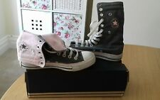 Converse All Star Trainers Ladies Size 4 UK Green & Pink Long Hi Top LOOK!
