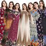 Ramadan Muslim Women Print Long Maxi Dress Abaya Kaftan Jilbab Arab Robe Islamic