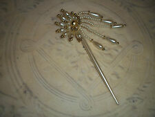 Vintage Original 1980 Flower Floral Tassle Faux Pearl Beads Hair pin