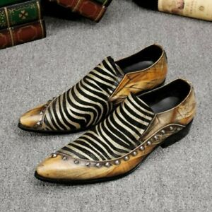 Men Nightclub Stripe Printed Pointy Toe Loafer Low Heel Shoes Pumps Euro Style