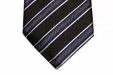 Benjamin Tie Charcoal brown weave with blue/grey stripes,  silk
