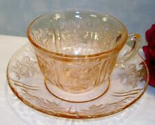 Sharon Cabbage Rose by Federal Pink Depression Glass Cup and Saucer