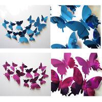 12Pcs Adhesivos De Pared Adhesivo Mariposas 3D Espejo Decoración Hogar Adornos