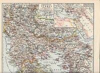c. 1890+ OTTOMAN TURKEY GREECE BULGARIA SERBIA MONTENEGRO MACEDONIA Antique Map