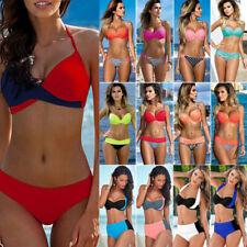 Women Push Up Bikini Set Bra Padded Swimwear Bandage Lady Swimsuit Bathing QU