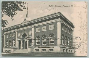 Freeport Illinois~Public Library~1905 Postcard