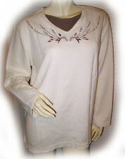 BOBBIE BROOKS Womens Sweater Tee Top L 12 14 Long Sleeve Floral Embroidery Ivory