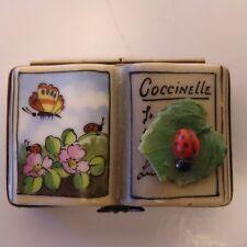 Rochard Limoges Trinket box Book: Kingdom of Insects with ladybug on leaf