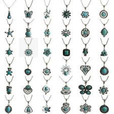 Vintage Fashion Turquoise Tibetan Silver Bib Crystal Pendant Long Necklace Women