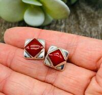 Taxco Red Jasper Studs Earrings 925 Sterling Silver - Handmade in Mexico