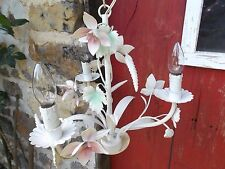 French vintage chandelier tole 3 light pastel color floral pink green charming