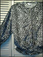 "HDLD Black & Silver Animal Print Blouson Blouse (L) 36"" - 40"" bust Gold Buttons"