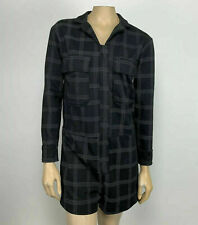 NWOT Zara Woman Zip Front Romper Black Plaid Long Sleeve Shorts Size S