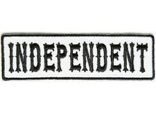 "INDEPENDENT Black on White 3.5"" x 1"" iron on patch (4999) Biker Club vest"