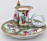 Chinese Porcelain Canton Famille Rose Medallion Chamberstick Snuffer Mid 19th C