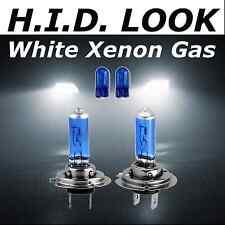 H7 55w 2 Pin 501 White Xenon HID Look Headlight low Beam Bulbs & Matching Caples