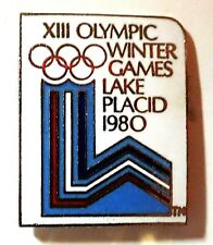 VINTAGE OFFICIAL  LAKE PLACID 1980 OLYMPIC GAMES PIN BADGE / 2020 TOKYO TRADER