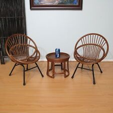 Children Rattan Chairs and Table Set of 3