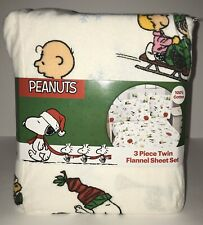 Peanuts Flannel Twin Sheet Set 3 PC Christmas Snoopy Charlie Brown Snowflake