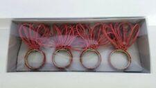 Kim Seybert Set Of 4 Red Glass Beaded Napkin Rings