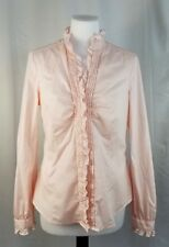 Esprit L Pastel Pink Stand Collar Ruffle Trim Button Front Fitted Blouse Stretch