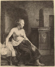 Rembrandt Etching Reproduction: Woman, Half Dressed by Stove: Fine Art Print