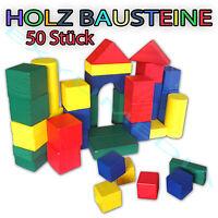 50 tlg. Holz Bausteine Bauklötze Holzspielzeug Holzklötze bunt Holzbausteine