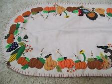"46"" Handmade Wool Flannel Embroidered THANKSGIVING Turkey Harvest Table Runner"