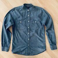 21 Men Banded Collar Long Sleeve Denim Button Down Shirt Size Small