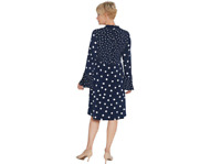 Susan Graver Polka Dot Liquid Knit Dress Tie, Navy,Size 1X , NEW A346398