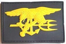 PVC Abzeichen Navy SEALs - Gummi Patch Klett - schwarz gelb gold - SEAL SEALS