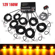 160W 8 LED 12V Bulbs Hide Away Emergency Hazard Warning Flash Strobe Light Amber