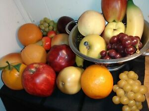 Artificial Fake Fruit Lot of 23 Pieces Apples, Pears, Grapes, plum no strainer F