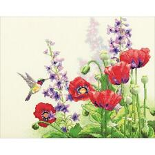Counted Cross Stitch Kit HUMMINGBIRD & POPPIES Dimensions New Release!
