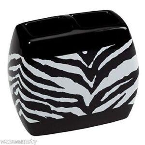 Wild Safari Zebra Print Black White Bath Ceramic Toothbrush Holder Decor