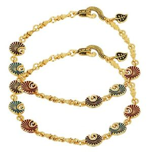 Indian Traditional Multi Color Gold plated Foot Payal Fashion Jewelry Anklets