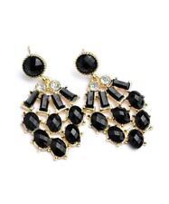 NEW..Gorgeous Stylish Black Stone & Rhinestone Bling Glam Earrings.