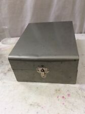 Mid Century metal storage file box vintage Grey 10x7.5x4