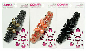 Conair Sophisticates Butterfly Barrette with Rhinestones #58795 Pack of 3