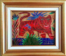 Yuri Gorbachev Original Painting,,;Leaping Tiger,,Oil on canvas,gold,bronze