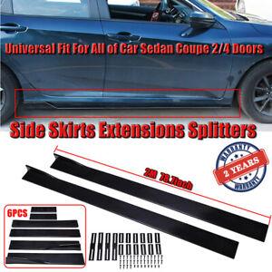 Universal Black Side Skirt Extension Diffuser Panel Splitters For Honda Toyota