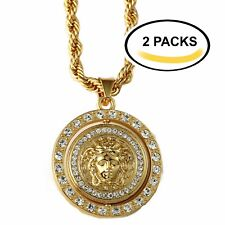 """2 Sets - Iced Out Medusa Charm Pendant 30"""" Rope Chain Gold Tone Hip Hop Necklace"""