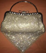 Gold Elegant Wedding Rhinestone Stones Beaded Evening Clutch Bag Handbag NWT $58