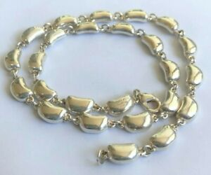 Stunning Vintage Tiffany & Co Signed Elsa Perreti Sterling Silver Bean Necklace